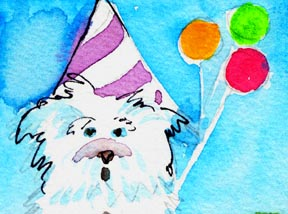 Milly's Birthday is a pen and watercolor by Mindy
