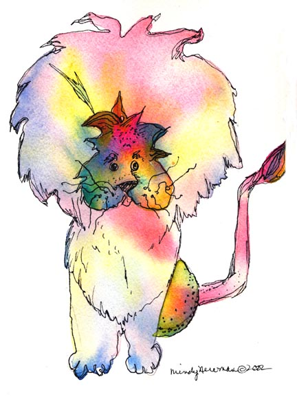 Rainbow Lion is a watercolor and pen by Mindy Newman